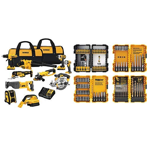 DEWALT DCK1020D2 20V Combo Kit with DEWALT DWA2FTS100 Screwdriving and Drilling Set, 100 Piece