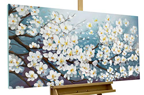 KunstLoft® Acryl Gemälde 'Glamour in White' 140x70cm handgemalt Leinwand Bild