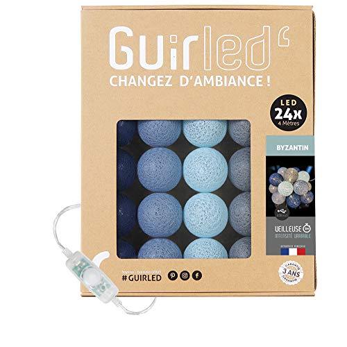 LED Baumwollkugeln Lichterkette USB - Baby Nachtlicht 2h - Dual USB 2A Netzteil enthalten - 3 Intensitäten - 24 Kugeln 4m - Byzantin
