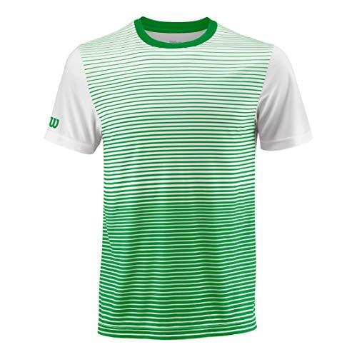 Wilson, M Team Striped Crew, Camiseta deportiva de hombre, Poliéster, Verde/Blanco, Talla: L, WRA769702