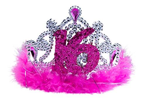Sweet 16. Tiara mit rosa Federn