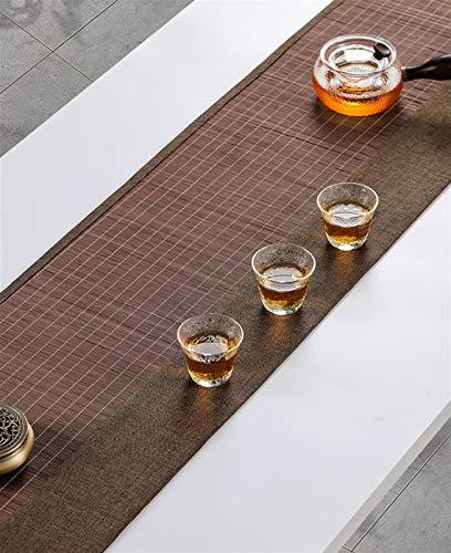 Caminos de mesa Camino de Mesa de Bambú Marrón, Estilo Japones Natural Estera del Listón del Juego de Té, Casa de Campo Tradicional Resistente a Las Manchas Manteles Individuales para Cocina Casera Co