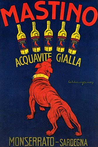"MASTINO ACQUAVITE GIALLA MONSERRATO SARDEGNA RED DOG WINE DRINK ITALY 32"" X 48"" VINTAGE POSTER REPRO MATTE PAPER WE HAVE OTHER SIZES"