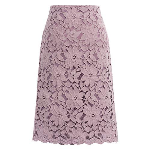 Party Kleid Elegant Kleider Damen,Frauen Lace Rock A-Line Aushöhlen Fitness Rock Knielangen Plus Größe Rock Evansamp(Lila,M)