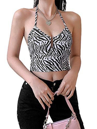 Grace&Nora Chaleco casual sexy sin espalda, estampado de rayas de cebra negra, tallas S/M/L