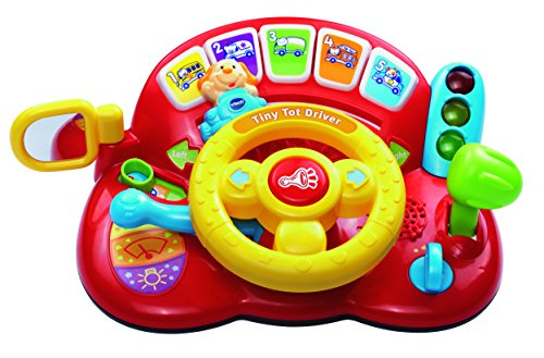 VTech 166603 Baby Tiny Tot Driver Suitable for Children Toddler Interactive Drover Toy Featuring a Steering Wheel with Music and Light, Multi-Colour
