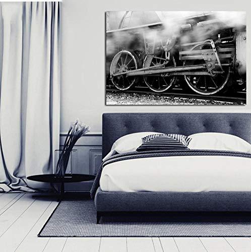 Klassische Dampflok Poster und Drucke Wandkunst Leinwand Malerei Züge Dekorative Bilder Für Wohnzimmer Wohnkultur N 6x8 zoll (15x20 cm)