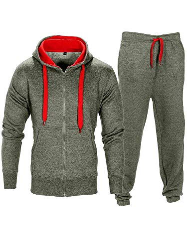 Tuta da uomo in pile con felpa con cappuccio e pantaloni e coulisse a contrasto Charcoal/Red S