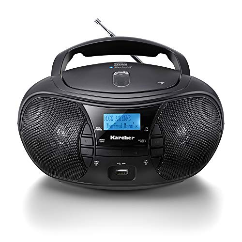 Karcher RR 5028D tragbares CD Radio (CD-Player, DAB+ Radio, Bluetooth, Batterie/Netzbetrieb, USB) schwarz