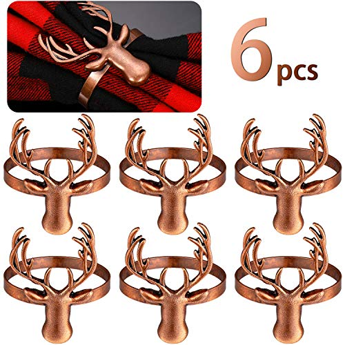 6 Pieces Deer Napkin Rings Christmas Metal Napkin Ring Holders for Christmas, Holiday Parties, Dinner Table Decoration (Bronze)