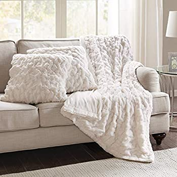 Comfort Spaces Ruched Faux Fur Plush 3 Piece Throw Blanket Set Ultra Soft Fluffy with 2 Square Pillow Covers 50 x60  Ivory
