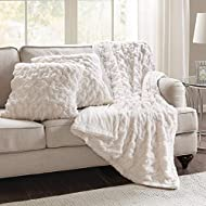 """Comfort Spaces Ruched Faux Fur Plush 3 Piece Throw Blanket Set Ultra Soft Fluffy With 2 Square Pillow Covers, 50""""x60"""", Ivory"""