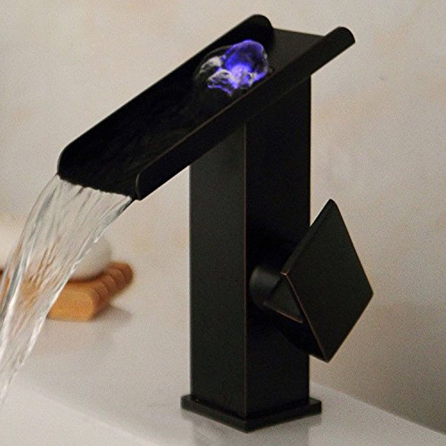 AQMMi Basin Sink Mixer Tap for Lavatory Brass Black Retro Wide Mouth Waterfall Hot and Cold Water Bathroom Vanity Sink Faucet