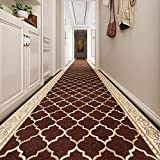 Corredores de alfombras Rectangular Brown Runner Alfombras, Área Casual Alfombras para sala de estar Bedroom Dormitorio Aisle, antideslizante, 80 cm / 100cm / 120cm / 140cm de ancho (Tamaño: 120x500cm