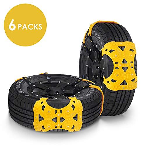 FIXKIT 6 Stück Auto schneeketten Universal Anti-Rutsch Ketten für Auto mit Reifenbreite 165mm-275mm