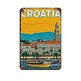 Blechschild mit Kroatien-Motiv, Vintage-Stil, für Pub,