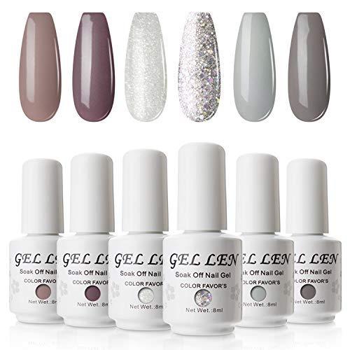 Gellen Vernis Gel Semi Permanent - Vernis à Ongles Vernis UV LED Gel Nail Polish Varnish Soak Off Manucure 6 Couleurs 8ml Nail Art Lot 03