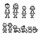 VORCOOL Autoaufkleber Familien mit Kazten Hunde für Fenster Stoßstange reflektierende (Schwarz)