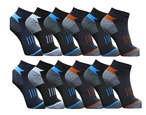 BestBuy-Shop 12 Paar Herren Sneaker/Füßlinge für Sport und Freizeit - hoher Baumwollanteil - Designed in Germany,Muster 3,39-42