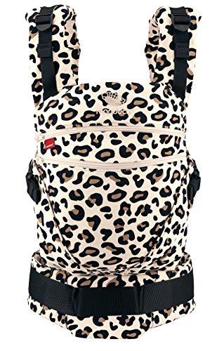 manduca Babytrage XT > Leo < All-In-One Babytrage für Neugeborene, verstellbarer Sitz, 3 Trage Positionen, Bio-Baumwolle, für Babys von 3,5 bis 20 kg (Limited Edition/Animal Print/Leopard)