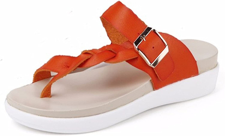 Socofy Women's Leather Sandals,Knitting Buckle Clip Toe Flat Flip Flops Handmade Beach Summer Casual Vacation orange 12 B(M) US