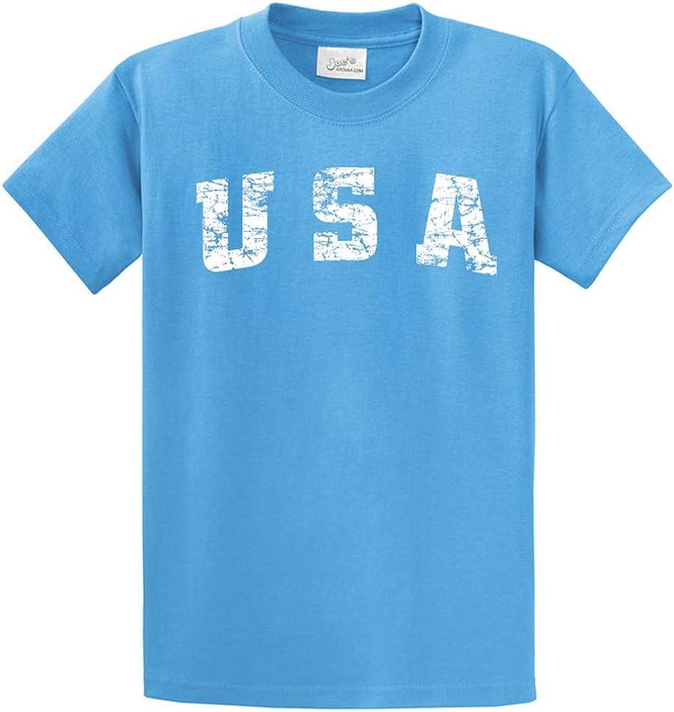 Joe's USA -Tall Vintage USA Logo Tee T-Shirts in Size 2X-Large Tall -2XLT Aquatic Blue