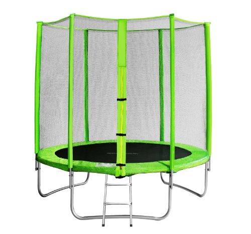 SixBros. SixJump trampolino elastico da giardino 1,85 m – trampolino per il giardino, trampolino all'aperto, set completo incluso scaletta, rete di sicurezza & copertura, verde, TG185/1572