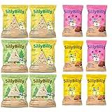 SillyBilly - Snack ecológico - Pack Más vendidos - 12 bolsitas - Tortitas de arroz integral - Quinoa, espelta, maiz y legumbres - Almuerzos y Meriendas - Para picar entre horas