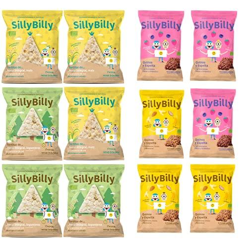 SillyBilly - Organic Snack - Best Seller Pack - 12 sachets - Crêpes de riz brun - Quinoa, épeautre, maïs et légumineuses - Déjeuners et collations - En-cas - Grignotage entre les repas