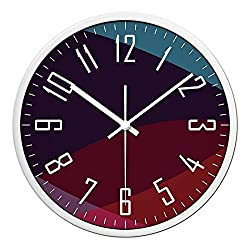 CC Timeon Modern King Size Quartz Wall Clock Non Ticking Quiet Sweep Decorative Clocks, Prism, 12inches, white