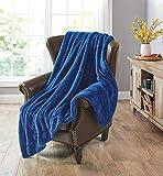 RBC, coperta per il letto, in microfibra di peluche, per il divano, 150 x 200 cm (blu)