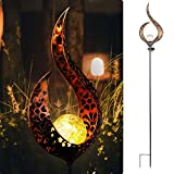 StarryMine 1 Pack Solar Garden Lights Crackle Glass Ball Metal Stake Waterproof Outdoor Decorative Lights Warm White for Patio, Driveway, Yard, Lawn, Pathway (1, Warm White)