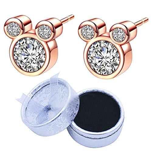 BESLIME Pendientes de Diseño Mickey, Circonitas Cúbicas y Rosa Oro, con Diseño de Mickey Mouse Pendientes de Plata de Ley en Color Rosa Oro