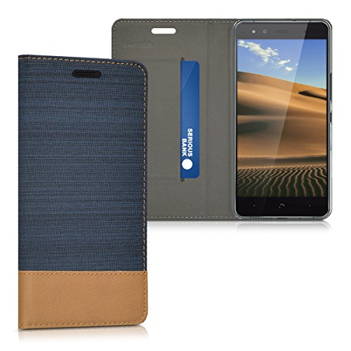 kwmobile Funda Compatible con bq Aquaris X5-Carcasa de Tela y Cuero sintético con Soporte en Azul Oscuro/marrón