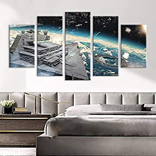 WMWSH Impresión HD Pintura 5 Piezas Ideas De Combate De Star Wars Cuadro En Lienzo, Cuadros Modernos Salón Decoracion De Pared Canvas Prints, Wall Art Modular Poster Mural Decorativo
