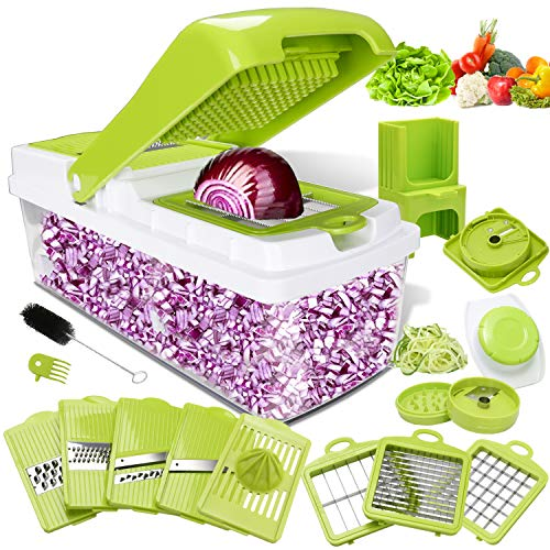 Kithouse Vegetable Chopper Pro Onion Chopper Dicer Slicer Cutter Manual - Vegetable Spiralizer Mandoline Slicer Food Veggie Kitchen Fruit Chopper Heavy Duty