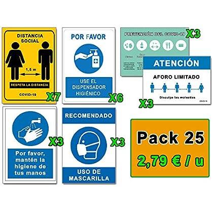 Señalización COVID 19 | Mega Pack Ahorro 25 Señales Coronavirus | 7 Distancia, 6 Dispensador, 6 Mascarilla, 3 Higiene…