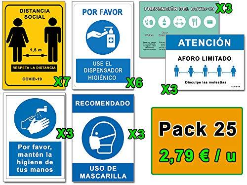 Señalización COVID 19   Mega Pack Ahorro 25 Señales Coronavirus   7 Distancia, 6 Dispensador, 3 Mascarilla, 3 Pautas, 3 Higiene Manos, 3 Aforo   Carteles Autoinstalables   21 x 30 cm