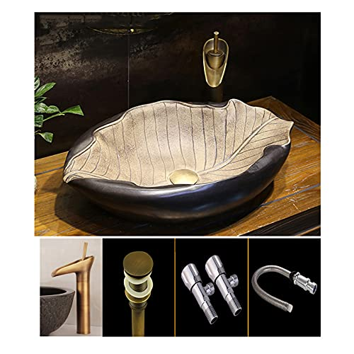AZYJ Lavabo sobre Encimera Original 570 * 390 * 150MM ,Arte De Cerámica Vintage Fregadero Piedra Exterior Jardin Estilo Industrial Lavabos sobre Encimera Ceramica con Grifo, Desagüe