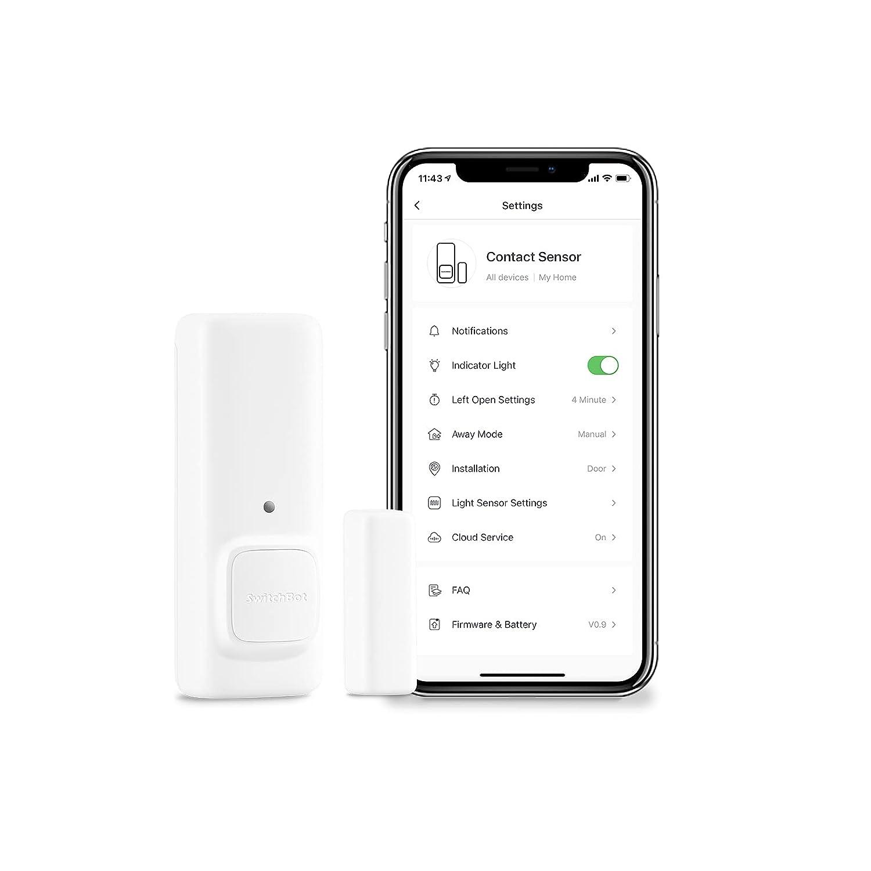 SwitchBot Door Alarm Contact Sensor - Smart Home Security Wireless Window Alarm and Door Sensor, Add Hub Mini Compatible with Alexa
