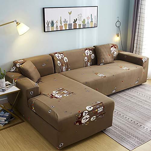 GGFHH Forma L protetor para Sofá,Elástica Soft Funda de Sofá Chaise Longue Elástica Proteger Cubre Sofá Estampada Moderna 3 Asientos 190-230cm