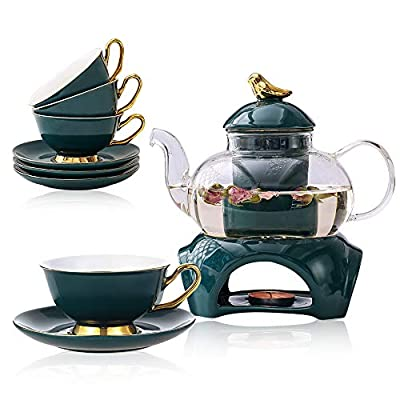 Clear Glass Teapot Tea Set with Removable Infuser,Includes 4 Ceramic Tea Cups and Saucers,1 Ceramic Warmer Base,Glass Tea Kettle with Strainer, Blooming Loose Leaf Tea Pot - Stovetop Safe