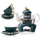 Teeservice Set Classic-Stil Blühende Tee Set Bleifreier Teekanne aus Glas(650 ml) mit Porzellan stövchen für losen Tee, mit abnehmbare Keramik-Sieb Enthält 4 Porzellan Tasse(200 ml) und Untertasse