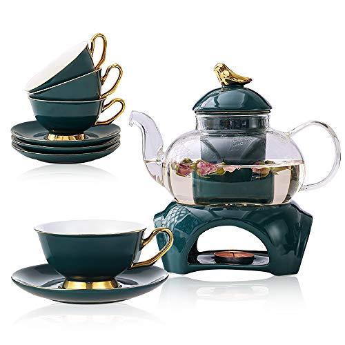 Teeservice Set Classic-Stil Blühende Tee Set Bleifreier Teekanne aus Glas(650 ml) mit Porzellan...