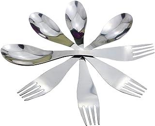 yyuezhi 4 Cucharas y Tenedores Creativos 2 en 1 Cuchara y Tenedor Creativa Cuchara y Tenedor en Acero Inoxidable Cuchara Combinada Tenedor Cuchillo Combinación Portátil Vajilla Multifuncional