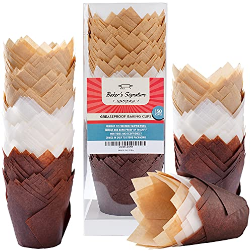 Baker's Signature Tulip Baking Paper Cupcake & Muffin Liners Pack of 150 | Grease Resistant Wrappers – Will Not Curl or Burn – Comes in Convenient Packaging