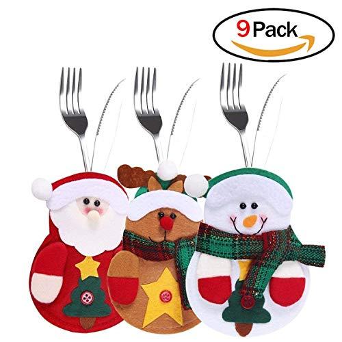 9 PCS Bolsita para cubiertos, tres diseño Papa Noel, Renos, Muñeco de Nieve para Decoración Navidad Cena Mesa