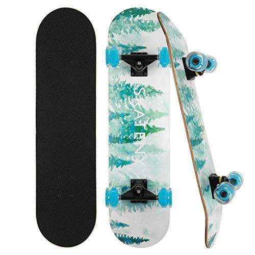 Skateboard Komplett Board 79x20cm Holzboard ABEC-7 Kugellager 31 Zoll 7-lagigem Ahornholz, 85A Blinkende Rollen für Anfänger Kinder Jugendliche und Erwachsene (Wald)