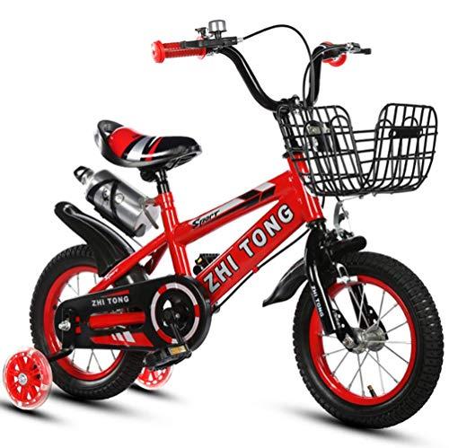 """Phil Beauty Bicicleta con Pedales Regalos para Niño Y Niña 3-9 Años De Edad con Estabilizadores con Rueda Auxiliar Luminosa Jardín De Camping Al Aire Libre Jardín De Infantes,Rojo,14"""""""