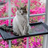Cat Window Perch, Mounted Cat Bed, Pet Perch with 4 Big Suction Cups, Holds up to 40 lb, Black